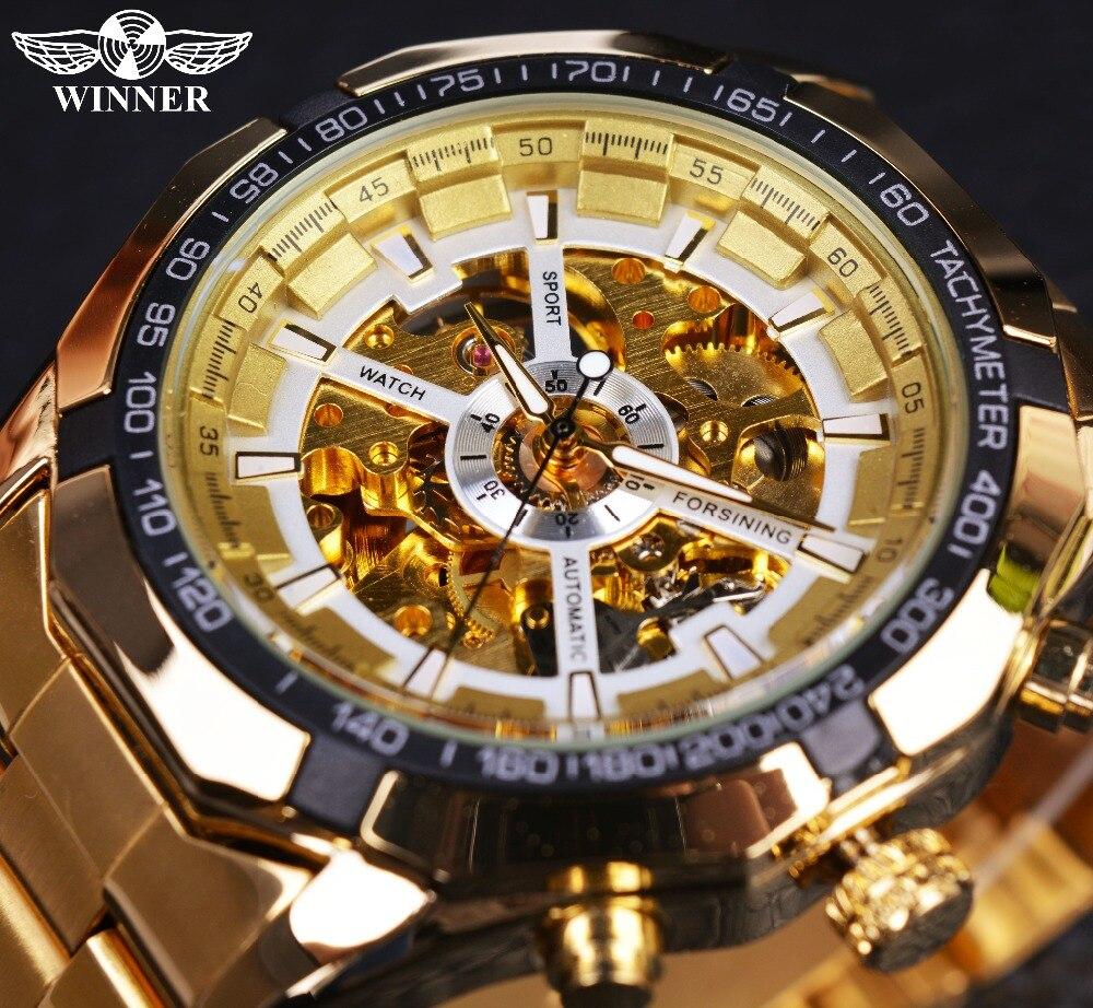 Gewinner Klassische Transparent Voll Goldenen Herrenuhren Top-marke Luxus Männer Sport Automatische Uhr Skeleton Uhr Armbanduhr