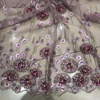 Beautiful 100%Super quality 2019African Lace Hand Made Beaded lace French net Lace For Nigerian Wedding long Dress NX68us
