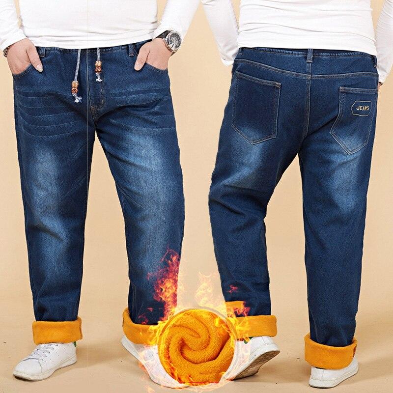 Trendy Plus Velvet Winter Jeans Men Plus Size 48 Mens Jeans Trousers Denim Pants Men Trousers Casual Stretch Jeans Mannen RC091