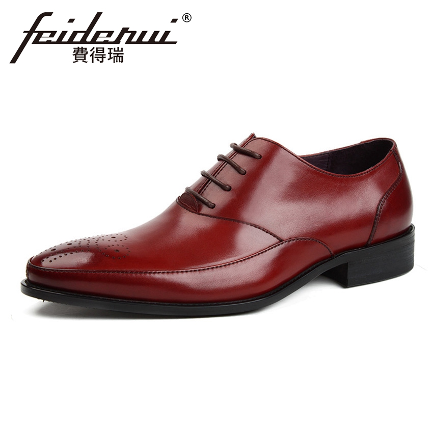 British Designer Breathable Genuine Cow Leather Men's Handmade Wedding Oxfords Pointed Toe Lace-up Man Formal Dress Shoes YMX368 2017 new genuine leather mens oxfords business dress wedding shoes lace up british style top quality cow leather brogue oxfords