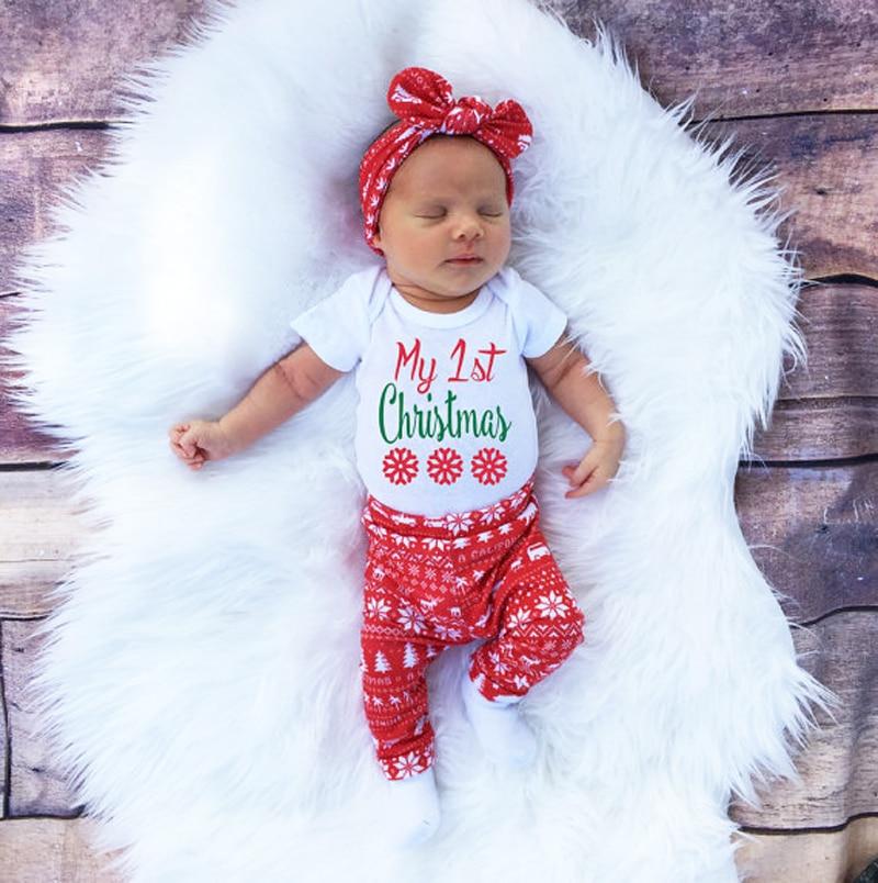 Рождество Новая мода новорожденных Обувь для девочек комплект одежды новорожденных Обувь для девочек с коротким рукавом ползунки Брюки дл...