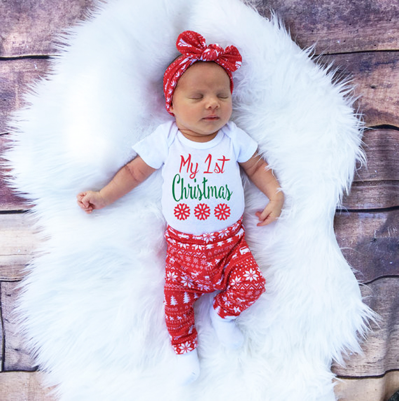 Christmas New Fashion Newborns Girls Clothes Set Newborn Girls With Short Sleeve Sliders Pants Hat Christmas Outfit Set Of Clot In Clothing Sets From Mother