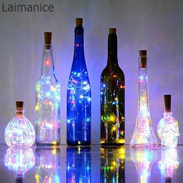 10pcs/lot 2M 20LED Micro Led Copper Wire String Light Wine Bottle Cork Stopper Vine Lamp Fairy Starry Lamp DIY Wedding Christmas