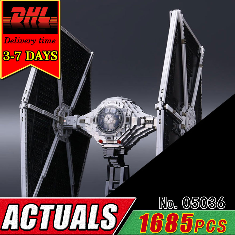 DHL LEPIN 05036 Star Series Tie Fighter Model Building Blocks Set Compatible 75095 Bricks Children Educational Military War Toy lepin 562pcs building blocks toy tie fighter diy assemble figure educational brick brinquedos for children compatible legoe