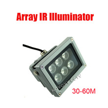 Free Shipping 30-60m Waterproof 6 pcs Array LED Lamp IR Illuminator for CCTV Camera Night Application