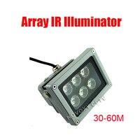 Free Shipping 30 60m Waterproof 6 pcs Array LED Lamp IR Illuminator for CCTV Camera Night Application