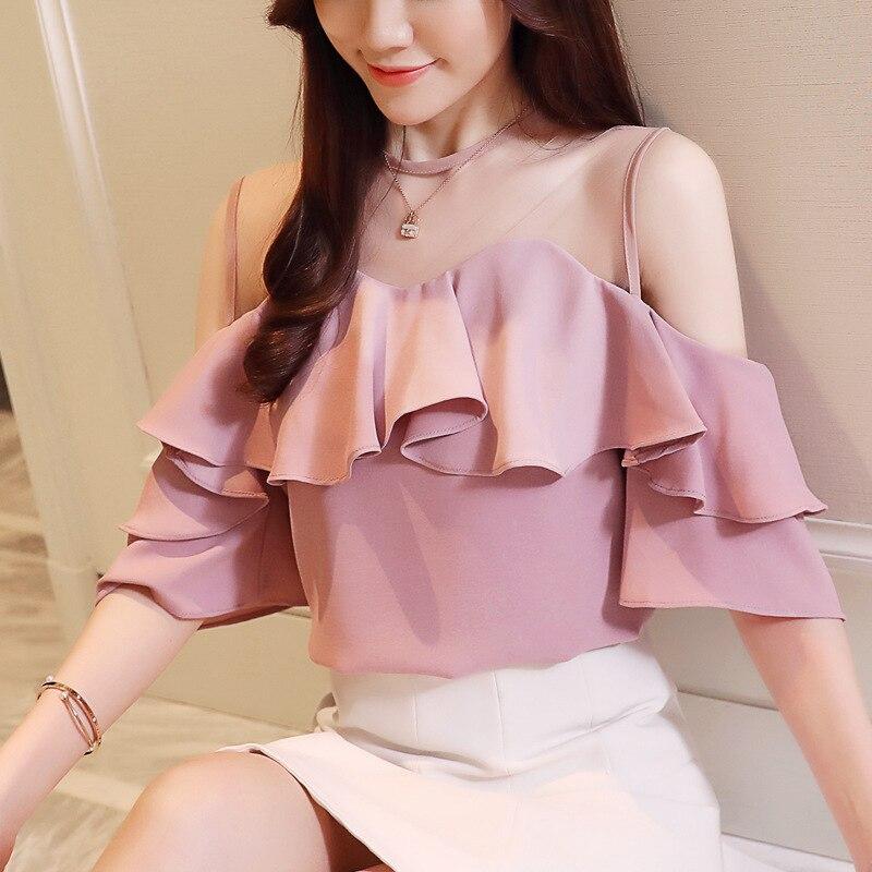 style womens wear, Korean version, chiffon sweater, blouse, lotus leaf, leaked shoulder, all around, round neck net.