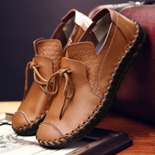 Mens Fashion cow Leather Shoes Working Lace Up Business Casual Genuine Flats Male sneaker Zapatos De Hombre