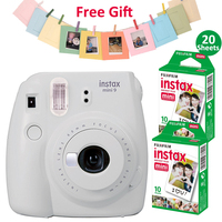 Fujifilm Instax Mini 9 Camera Kit Set Film Camera Photo Instant Camera With 20 Sheets White Film + Photo Frame + Clip + String