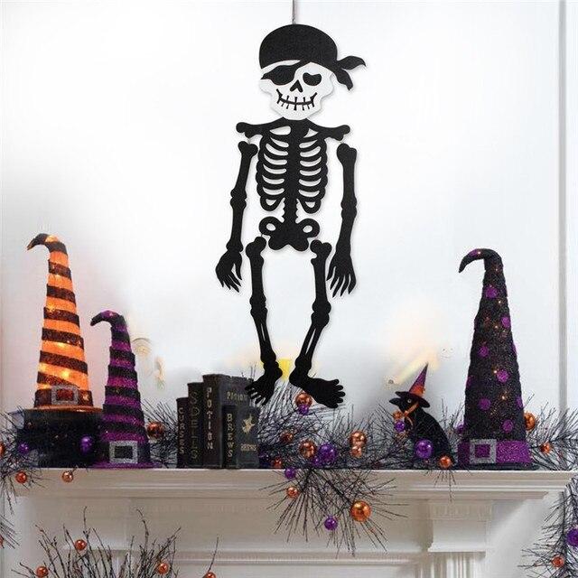 New Halloween Skeleton Hanging Decoration Durable Nonwoven Novel Terror Skull Ornament For Door Wall Window Halloween Decoration