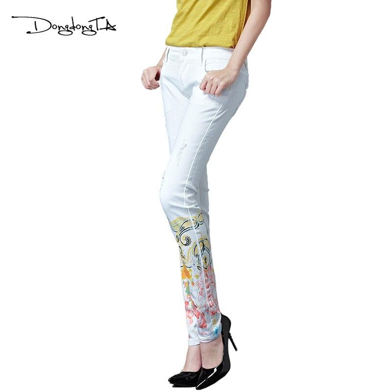 Dongdongta Kvinder Piger Hvid farve Jeans 2017 Nyt design Sommer - Dametøj - Foto 3
