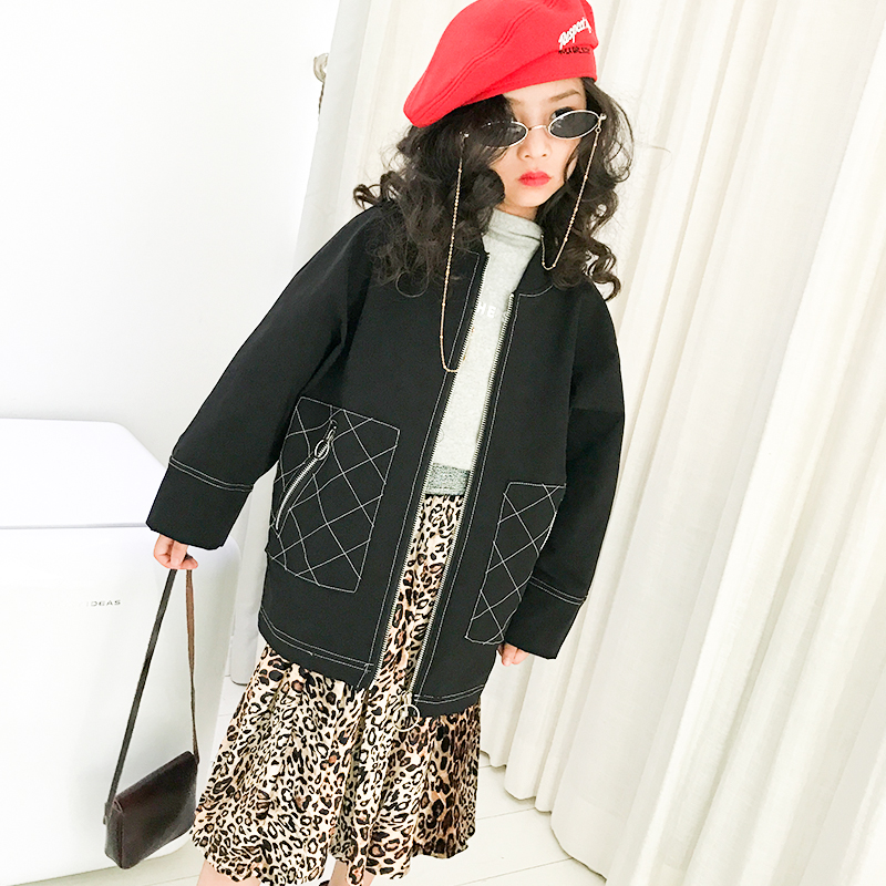 Baby girl jacket 2018 autumn new big children children Korean version of the loose long round neck jacket tide baby girl cotton coat autumn and winter 2018 new korean version of the big children s children loose thin large fur collar long