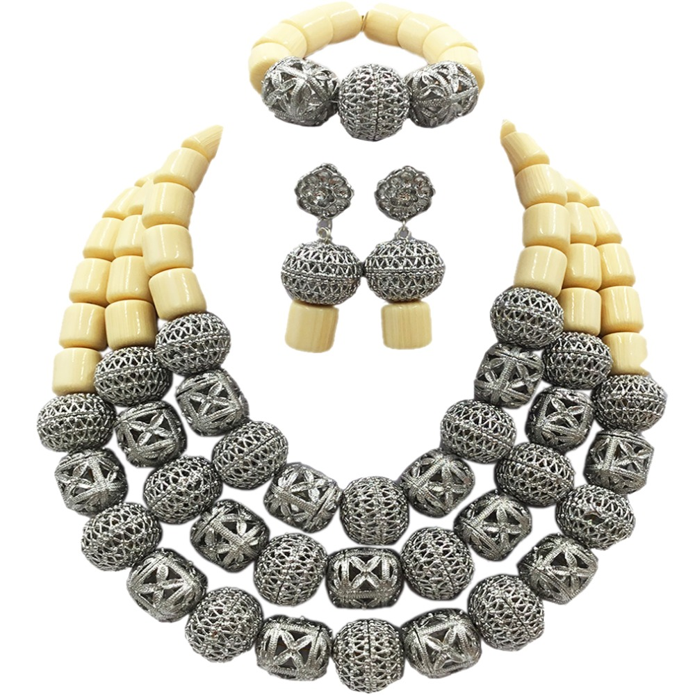 New Arrived White Artificial Coral Nigerian Wedding African Beads Jewelry Set ACB-12 latest yellow and gold beaded artificial coral nigerian wedding african beads jewelry set acb 11