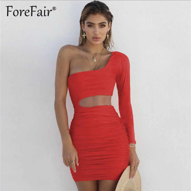 b0d199709e71 Forefair Long Sleeve One Shoulder Bodycon Dress Nightclub 2018 Autumn  Winter Women Slim Backless Mini Sexy