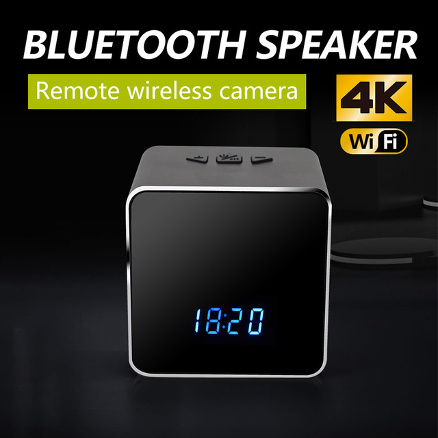 Z22 WIFI Wireless Bluetooth Speaker Music Player Electronic Clock 4K HD Security Night Vision Camera Hidden
