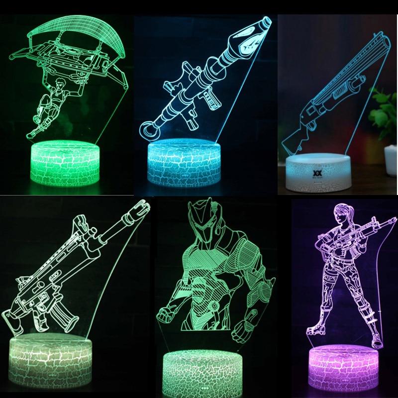 Quince días batalla juguetes luz de la noche LED Luz de sueño Fort Noche del artículo de la tienda de la lámpara de proyección de la cicatriz RPG arma regalos de los niños