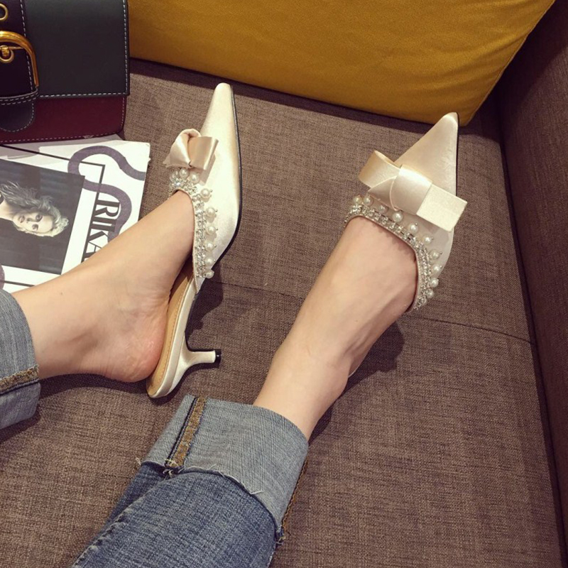 TINGHON Luxury Pearl Crystal Women Mules Shoes Silk Bowtie Women Pumps High Heels 5CM Shoes Slip on Pointed Toe Ladies Shoes in Women 39 s Pumps from Shoes