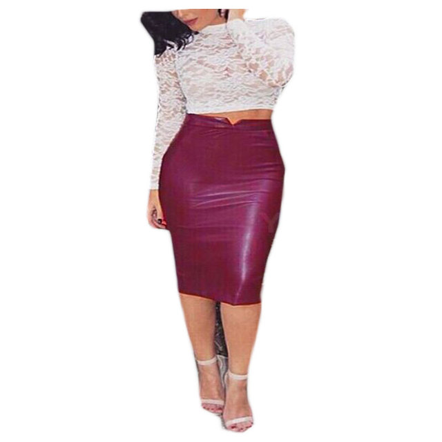 b41642bc3d9bc XXL Hot Sale Women Soft PU Leather Skirt High Waist Slim Hip Pencil Skirts  Vintage Bodycon OL Midi Skirt Sexy Clubwear Plus Size