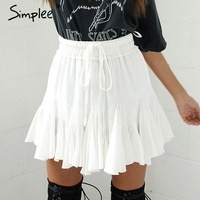 Simplee High Waist Sexy Short Pleated Skirt 2017 Elegant Summer Beach Black Mini Skirt Casual White