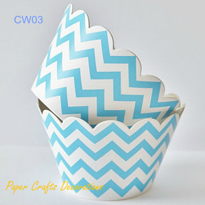 20pcs/lot (3.5 x 2) Baby Blue Chevron Cupcake Wrappers Baby Boy Shower Party Decorations Free Shipping