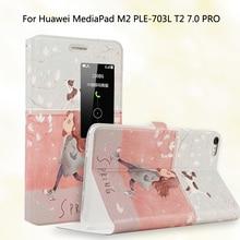 Moda PU Del Tirón Del Cuero Pintado Para Huawei Mediapad PLE-703L M2 M2 Yougth T2 Pro 7.0 pulgadas Tablet Smart Cover Case + Stylus pluma