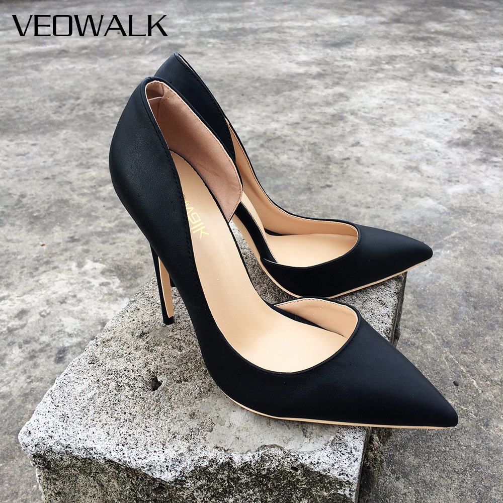 Veowalk Women Sexy D'Orsay High Heels Pointed Toe Elegant Ladies Party Shoes Thin Stiletto Fashion Pumps Black Customized Accept elegant women s round toe pumps with stiletto and suede design