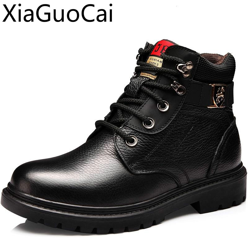 Fur Warm Men's Casual Boots Cotton Shoes Leather Winter Flannel Martin Boots Men's Army Boots Anti-skid Men's Shoes