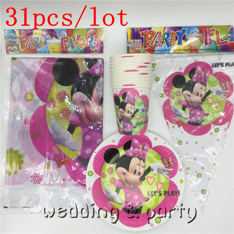 31pcs Minnie Mouse 10plates + 10cups+ 10flags+1 tablecloth happy birthday party supplies 10person party decoration tableware set
