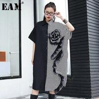 [EAM] 2018 New Autumn winter Lapel Long Sleeve Short Sleeve Flowers Striped Stitch Loose Big Size Dress Women Fashion JF308