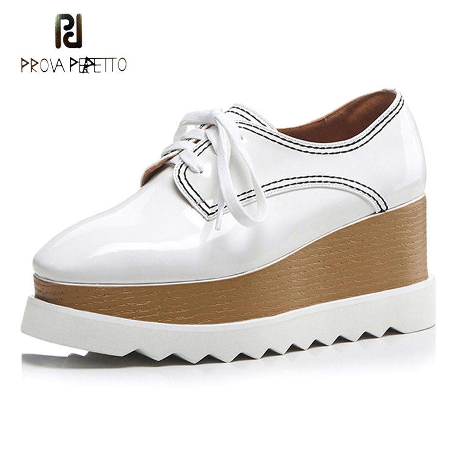 Prova Perfetto autumn women platform shoes patent leather brogue flats lace up footwear females oxford shoes women muffin shoes women platform flats shoes patent leather sneakers lace up female mesh footwear shoes for women sports