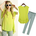 Chiffon Shirt Tops Stretch Cotton Trousers 2016 Women 2 Piece Sets Printed Yellow Tops Blue Pants Plus Size XL-5XL Women Suits