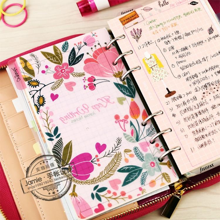 A5 A6 A7 Spiral Notebook Loose Leaf Transparent PP Separator Sidor - Block och anteckningsböcker - Foto 4