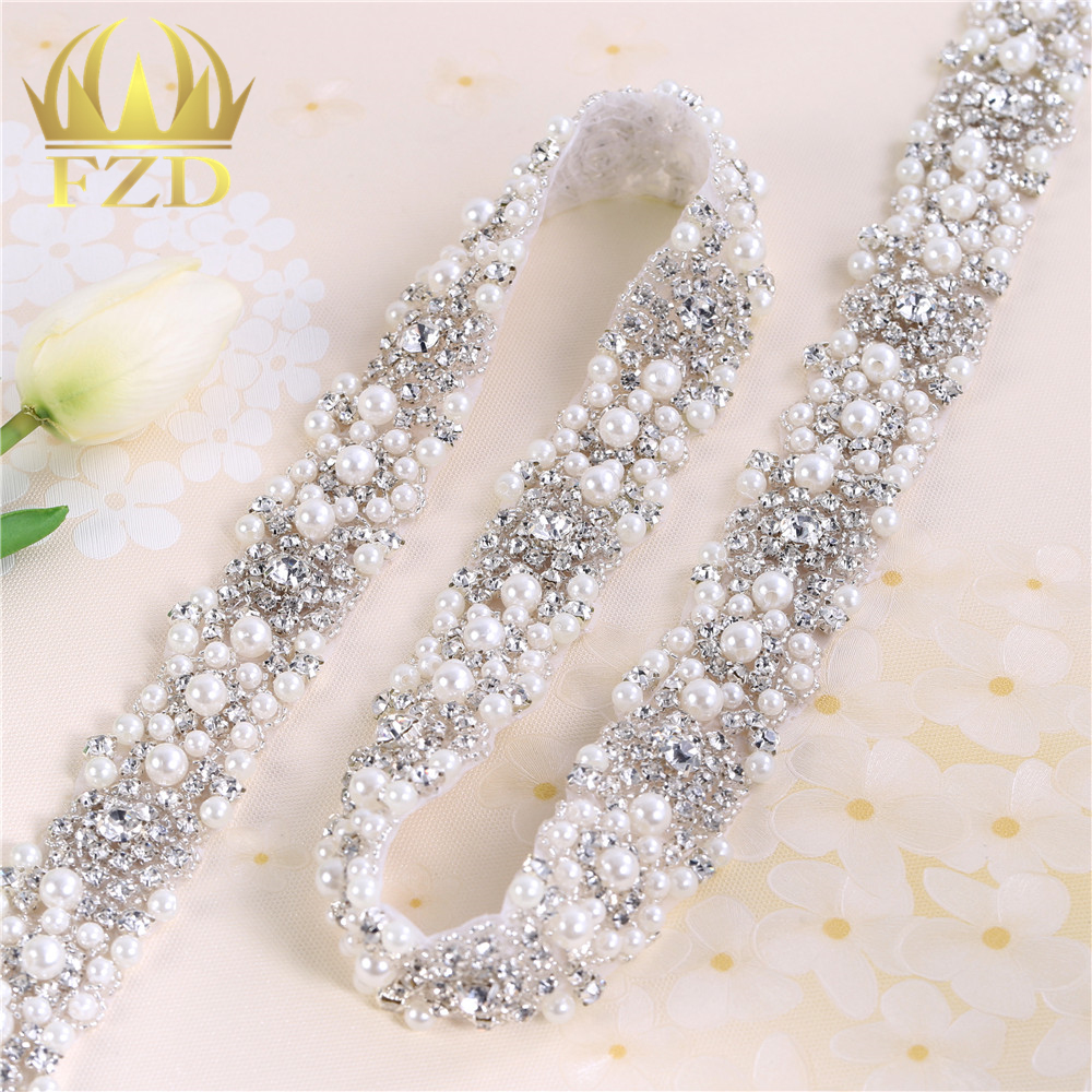 1Yard Rhinestones Crystal Dress  Applique Silver Beaded Trim For Wedding Dress Rhinestone And Pearl Applique By The Yard