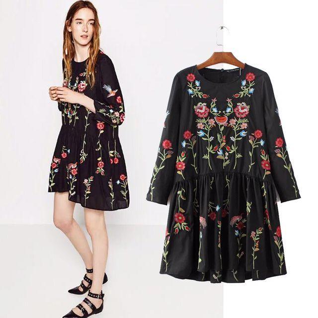 2017 женщины урожай с длинным рукавом цветочный цветочной вышивкой черный dress элегантный vestidos случайные свободные круглым воротом рюшами платья