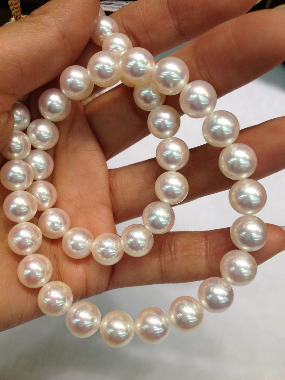 100% collier de perles Akoya naturel véritable collier de perles d'eau de mer 8-9 MM classique parfait rond Simple collier de perles