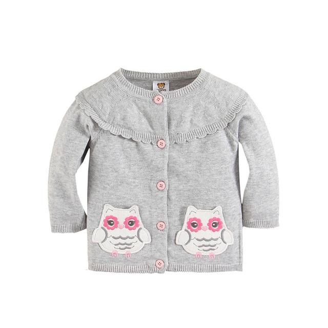 Tudo para as crianças Roupas e acessórios Do Bebê Roupas de Menina de Moda Grey Owl Cardigans Meninas Estrela Outwear