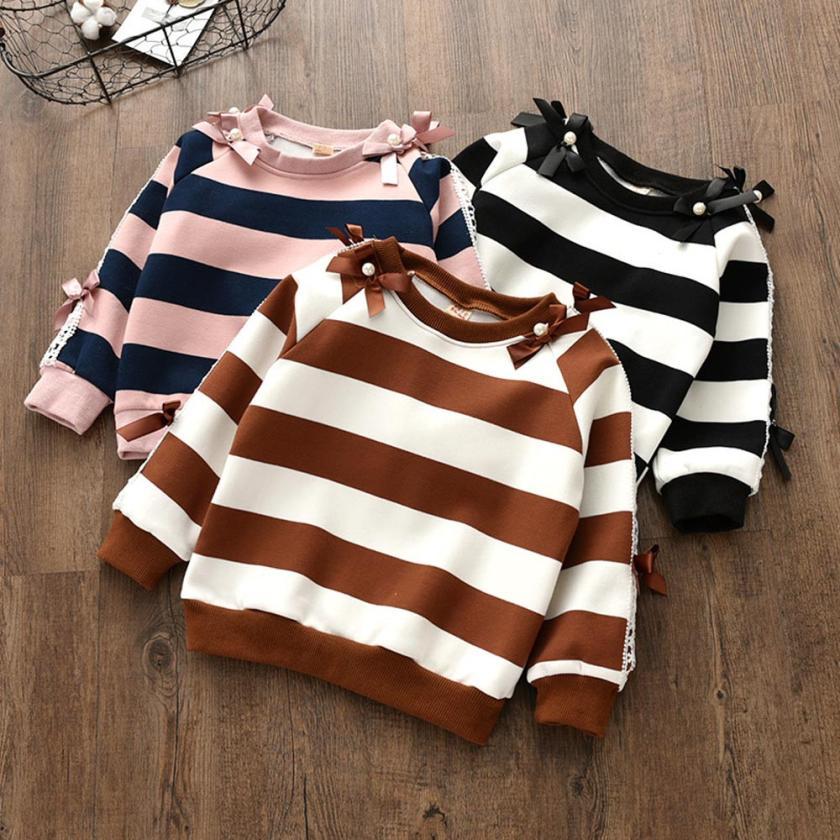 6T-7T Winter Tees Baby Girls Sweatshirt Kids Long Sleeve Tops Clothes Stripe Bowknot Tops T-Shirt Children Clothing tshirts