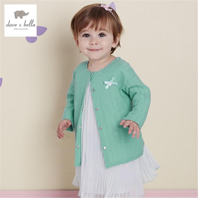 DB2117 dave bella primavera outono bebê menina doce projeto cardigan blusas criança infantil roupa da menina camisola de malha suave