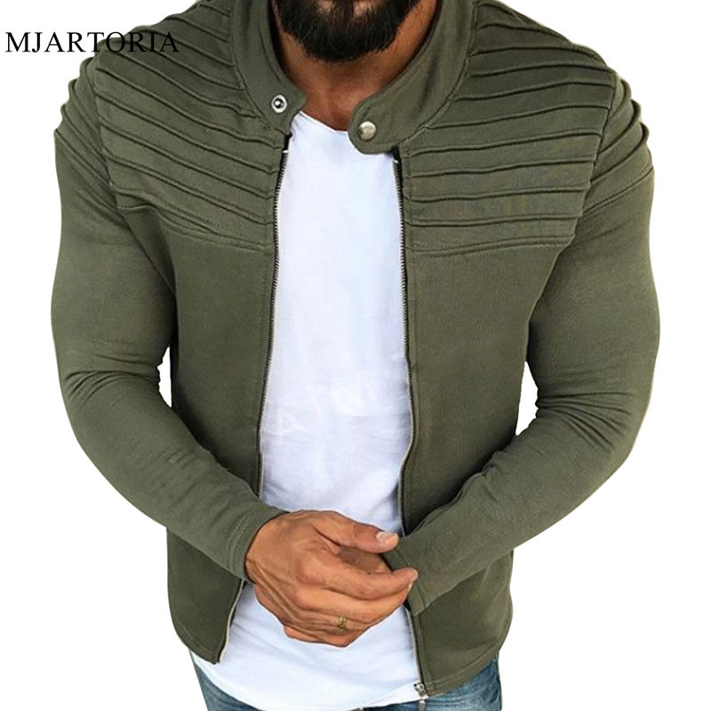 Outerwear Tops Jacket Sweatshirts Zipper Hoodies Raglan Pleated Long-Sleeve Male Men's