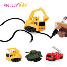 Enjoybay Mini Magic Toy Truck Induction Rail Tank Car Pen Draw Lines Engineering Vehicles Funny Birthday Gifts for Children