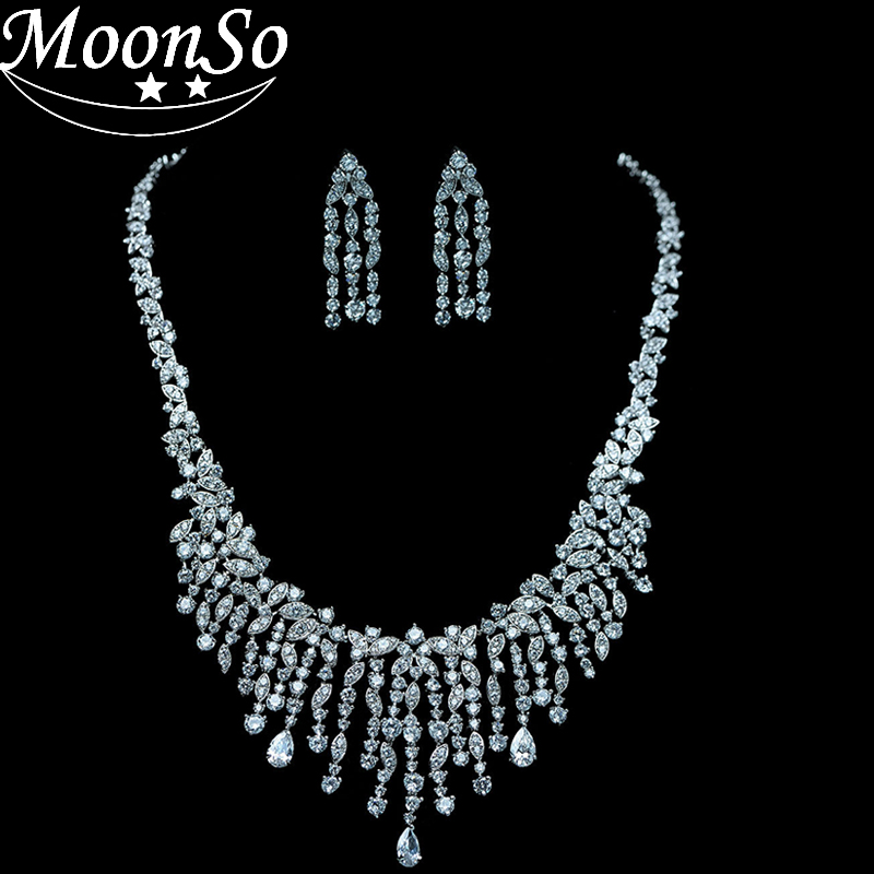 Moonso fashion 925 silver High end luxury Bridal Necklace Pave AAA Zircon Wedding Engagement Jewelery for