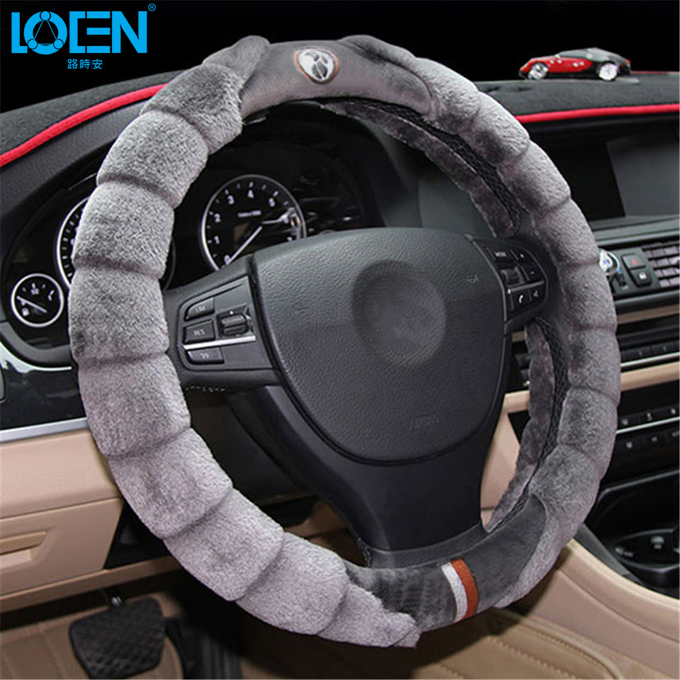Winter Steering Wheel Cover Artificial Wool Heated Steering Wheel Cover Winter Plush Steering Wheel Cover 38CM Gray Black Pink