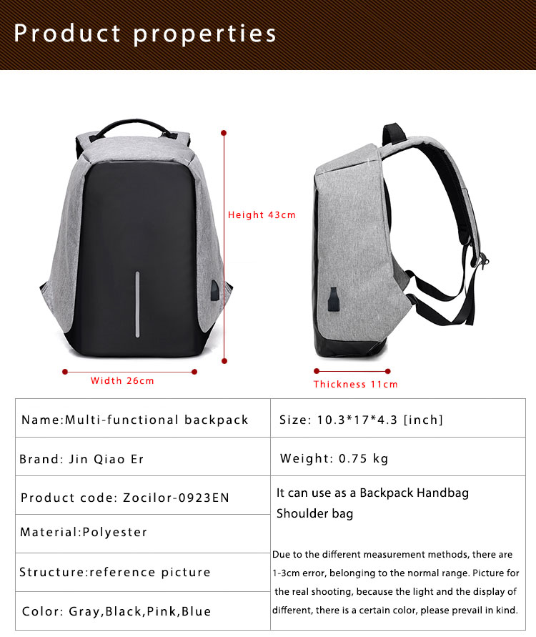 Third Generation USB Charge Anti Theft Backpack 15inch Laptop Backpacks Fashion Bags Bagpack Blue 15inch 10