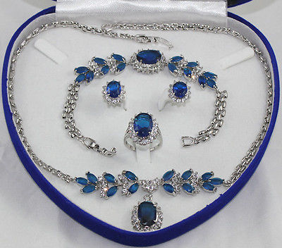 Inlay Blue crystal Necklace Bracelet Ring Earring set>AAA18KGP Plated gold Bridal wide watch wings queen JEWE U547D