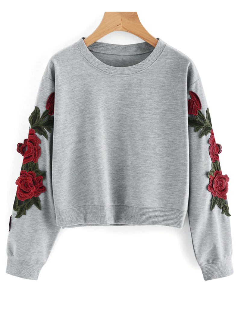 ZAN.STYLE  Crop Flower Sleeve Patched Sweatshirt O Neck Full Sleeve Rose Hoodies Top Harajuku Loose Casual  Pullovers