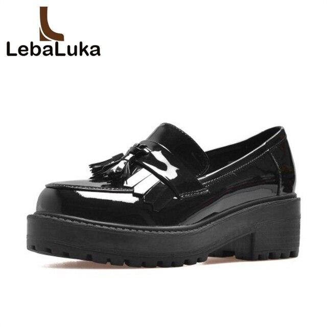 Zapatos de tacón alto, mocasines mujeres borla y tacones gruesos bombas.