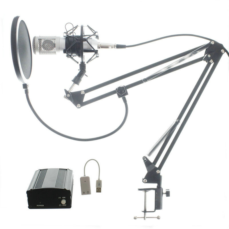 Full Set Microphone Professional BM800 Condenser KTV Microphone Pro Audio Studio Vocal Recording Mic + Metal Shock Mount best quality yarmee multi functional condenser studio recording microphone xlr mic yr01