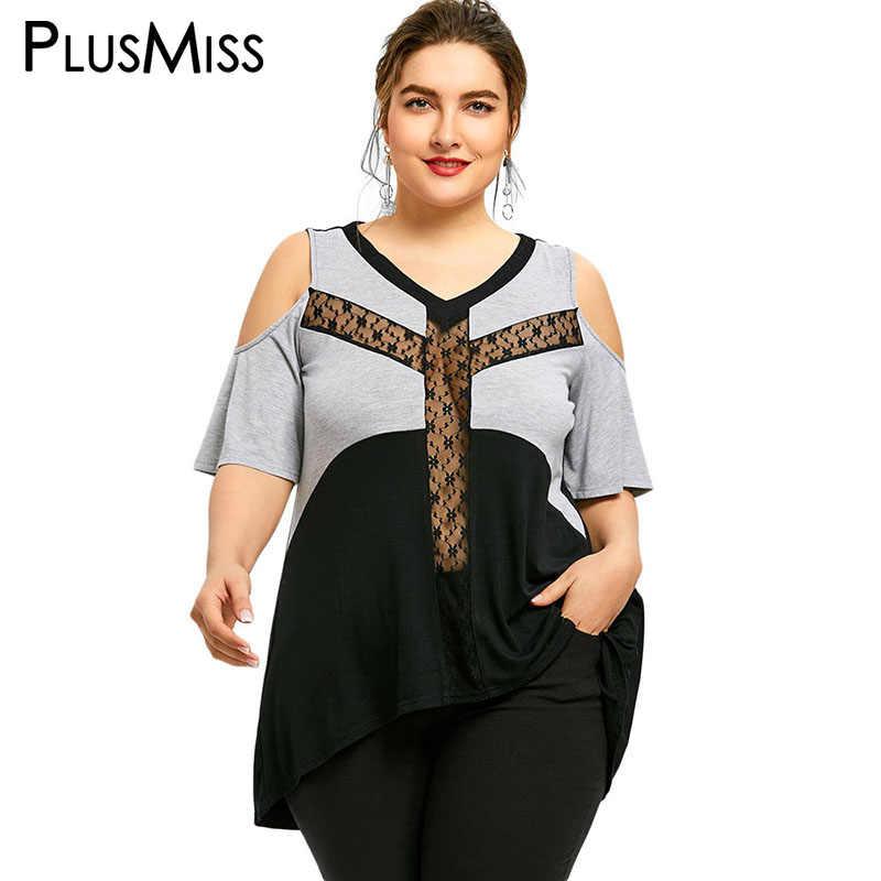 3d5d4bdd0da PlusMiss Plus Size 5XL Sexy Sheer Mesh Cold Shoulder Long Loose Tops Women  Clothing Big Size