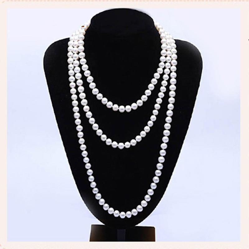 купить RUNZHUQIYUAN 2017 100% natural freshwater pearl long necklace 120 cm 160 cm 200 cm wedding jewelry For Women for girls Best Gift по цене 4202.25 рублей