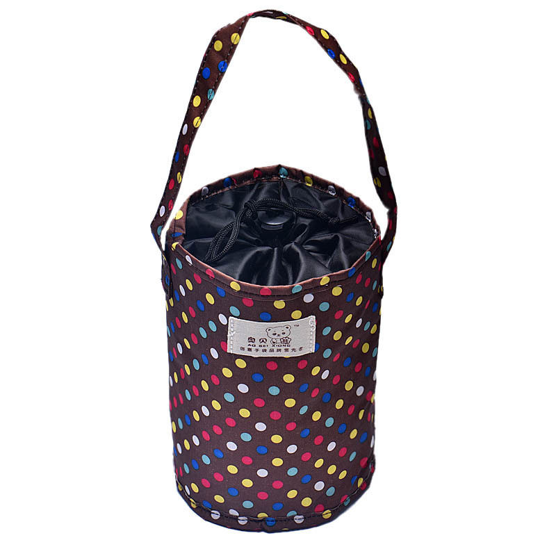Lunch Box Thermal Insulated Tote Trendy Cooler Bag Bento Pouch Lunch Container Brown